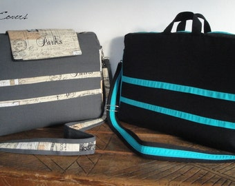 """Discount 20% READY to SHIP 15""""&17"""" Laptop bag - Laptop Compartments with 7 interior Pockets - FullyPADDED - Waterproof lining"""