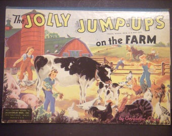 Vintage pop-up book, Jolly Jump-Ups book, On the Farm book, 1940's pop-up book, vintage children's book, vintage book, 1940s childs book.