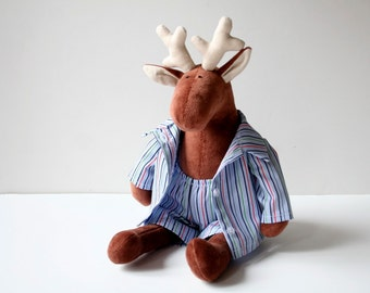 Sleepy Reindeer in pajamas, Christmas Gift, Stuffed animal for kids, Plush Toy in Nightclothes, Sleeping Plushie for Children, Baby Plush