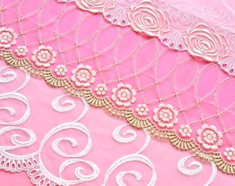 Pink Swirls Lace Grab Bag, Shabby Chic Pink Lace Trim, Bridal Accessories Lace, Dolls, Crazy Quilting, Upcycling, Lace Crafts