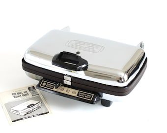 GE Waffle Iron Grill A6G44 Vintage Chrome automatic waffle maker