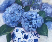 Original oil painting: Blue and White Hydrangeas , floral, blue painting,   home decor