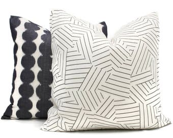 Schumacher Deconstructed Stripe Decorative Pillow Cover, Made to order, Black and white throw, toss pillow cover