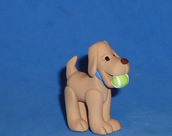 Polymer Clay Yellow Lab Dog with Tennis Ball