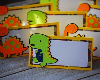 Dinosaur Yellow, Green and Orange Birthday Place Cards ,Dinosaur Food Tents, Dinosaur Happy Birthday Banner