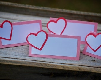 Heart Place Cards, Heart Food Cards, Heart Birthday Party Cards, Heart Baby Shower, Valentine Decor