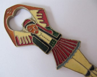 Vintage bottle opener, Greek Turkish dancer, metal opener w/ colorful enamel accents, collectible bottle openers, vintage barware, ref-D