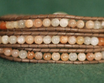 Inspired 3x leather wrap bracelet with moonstone beads on taupe leather (B349)