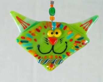 Ornament - Cat Fused Glass