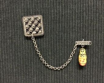 Antique Vintage Silver Filigree Matryoshka Babushka Doll Brooch Pin