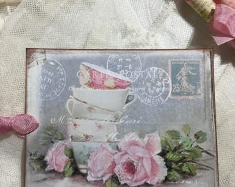 Shabby Chic Tea Cups Postcard Gift Tags, Notecards, Cards, Stationery, Gift Item, Gift Wrapping