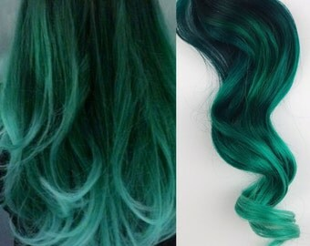 Green Hair, Ombre Dip Dyed Hair, Clip In Hair Extensions, Mermaid Hair, Blue Hair,  Hair Wefts, Human Hair Extensions, Bundle