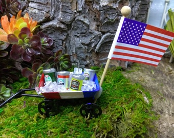 Beer and Ice Patriotic Cooler Wagon for Fairy Garden American Summer Cookouts