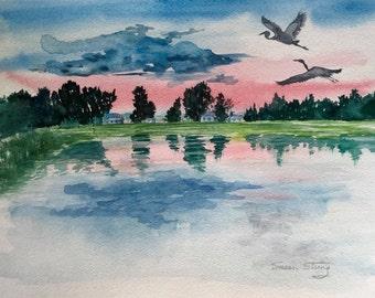 Vermont Watercolor Print, Colchester Point, Landscape, Sunset, Blue Herons, Lake Champlain,