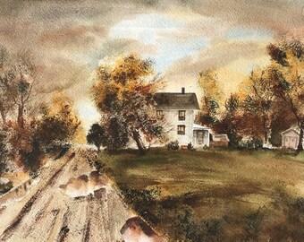 Vermont Farmhouse Watercolor Print, Landscape, Country Scene, Brown tones