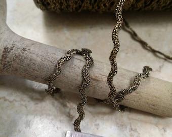 "1/8"" Vintage Metal Ric Rac wavy braid teim. Gold and black, millinery, ornament, boudoir, metallic, doll trim, tiny trim"