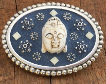 Buddha buckle, Buddha Belt, Yoga belt, Silver buckle, Blue Buckle, Mosaic Belt, Mosaic Belt Buckle, Women's Buckle,  Women's  Belt Buckle,