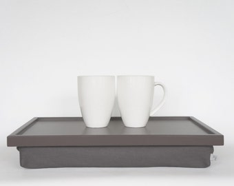 Breakfast serving tray, Laptop Lap Desk, laptop stand- greyish brown tray with warm grey Pillow