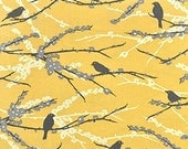 Sparrow yellow fabric by the yard - JD41 Aviary 2 Vintage Yellow gold - Free Spirit fabric - 100% cotton - Joel Dewberry