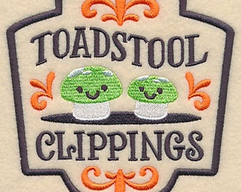 Apothecary Toadstool Clippings Embroidered Flour Sack Hand/Dish Towel