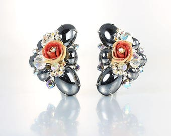 Juliana D&E Earrings Hematite Aurora Borealis rhinestone Rose Bud vintage 1960s jewelry