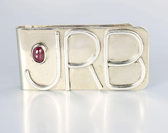 Sterling silver Money Clip, initials JRB, Natural Ruby accent vintage mens accessories