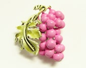 Vintage Coro Pink Enameled Grapes Brooch signed 1960s