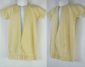 Vintage Ivory Infant/Baby Robe Embroidered with Pale Blue Flowers