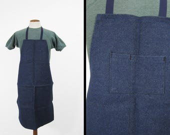 Vintage 70s Denim Apron Indigo Blue Long Shop Bib Made in USA