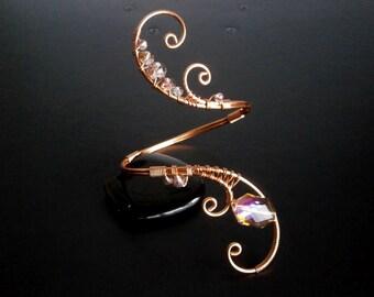 Copper Bracelet , Crystal Bracelet, Cuff Bracelet, Arm cuff, Spiral Arm Band, Arm Bangle, Upper Arm Bracelet, Wire jewelry