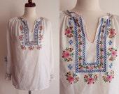 Vintage Hungarian Peasant Blouse - 1970's Matyó Kalocsa Embroidered Blouse  - Size S-M
