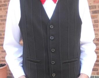Black patchwork mens vest, size XL mens vest, black men's vest, ready to ship