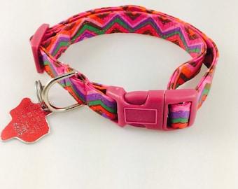 Bright colored Chevron - Dog Collar - Adjustable
