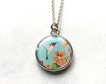 Mothers Day Gift, Handmade from Original Painting, Hummingbird Jewelry, Mothers Necklace, Mothers Jewelry, Gift for Mom, Hummingbird Art