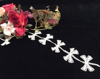 Vintage Ivory Decorative  Bow Lace, Vintage Wedding Lace, Vintage Bridal Lace