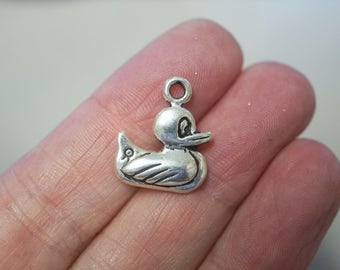 5 Metal Antique Silver Duck Charms - 20mm