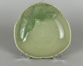 Thrown Serving Bowl - Triangle Shape - Olive Green