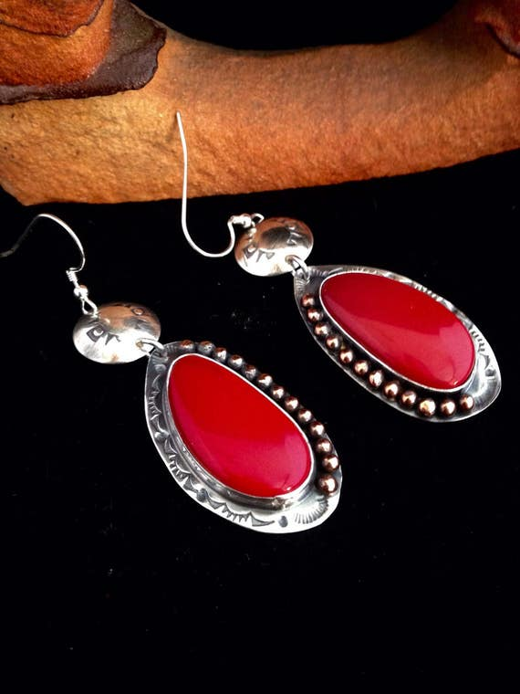 Handmade Earrings, OOAK Southwestern, Boho, Cowgirl, Cranberry Red Rosarita  Dangle Earrings