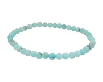 Amazonite Stretch Bracelet, Energy Bracelet, Yoga Jewelry, 4 mm Gemstone Bracelet, Stack Bracelets, Women and Teen Girls #6472
