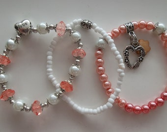 Peachy Pearl with Heart Charm & Shell Charm-Set- Fashion Jewelry-Beaded Stretch Bracelet  (237)