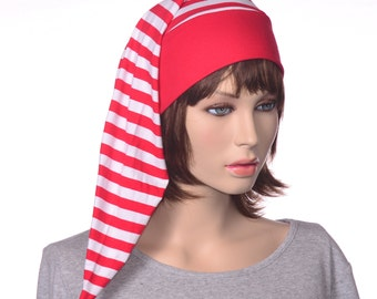 Nightcap Red White Stripes Candy Cane Night Cap Sleeping Hat Head Underwear Men Women Adult Christmas Stocking Cap