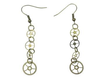 4-gear earrings gears Mechanics Steampunk Clockwork pm Brass Upcycling