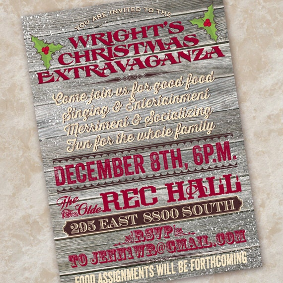 holiday party, company holiday party, neighborhood gift exchange, subway Christmas party invitation, typography red and green party, CC095