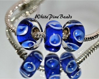 Sapphire Blue and White  Handmade Murano Glass Bead for European Style Charm Bracelets