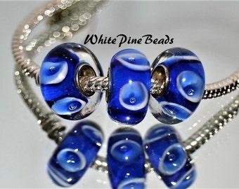 Sapphire Blue and White  Handmade Murano Glass Bead for European Style Charm Bracelets