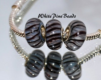 Black and Gray Handmade Murano Lampwork Glass Bead for European Charm Bracelets by White Pine Beads