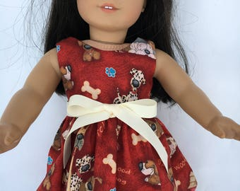 18 inch doll dress with puppies and bones and paws, made to fit 18 inch dolls such as American Girl dolls and similar size dolls