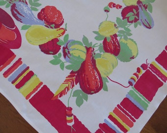 WILENDUR Tablecloth Southwestern Spanish Mexican Theme Pottery Gourds Red Green Yellow Fruit Collectible Table Linens - Arts Crafts - AS IS