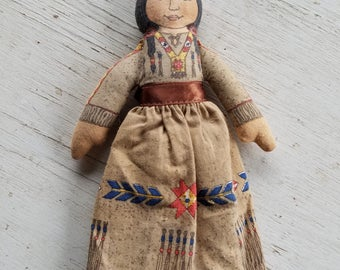 """Vintage faux Native American """"Indian Maiden"""" doll by Hallmark in box"""