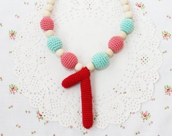 1st birthday girl gift necklace Chunky red pink and mint necklace Handcrafted crochet and wood baby jewelry Number one Spring Summer